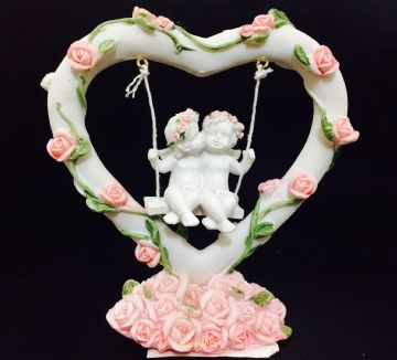 Cherub Couple  Sitting in PINK Rose Heart SWING 937326
